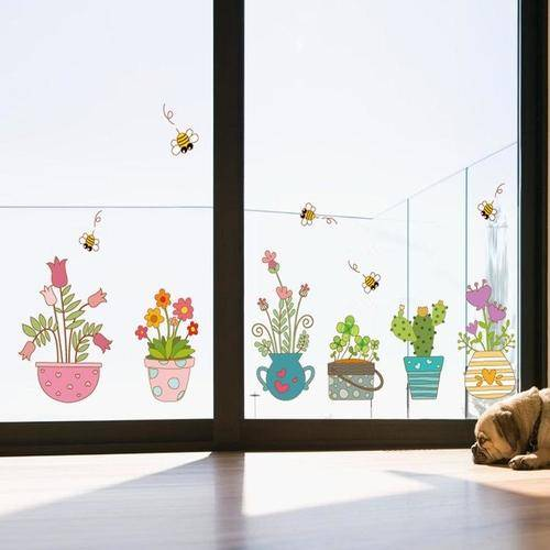 Magenta Angel Garden Plant Bonsai Flower Butterfly Wall Sticker