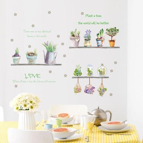 Magenta Angel Pot Plant Flower Window Wall Decal PVC Wall