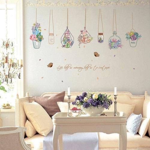 Magenta Angel Cartoon Flower Pot Basket Wall Stickers Dormitory