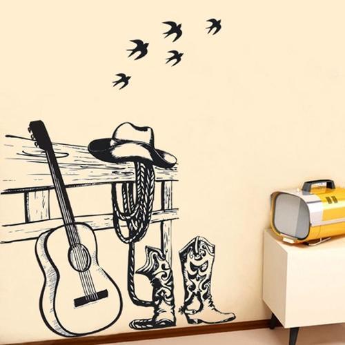 Magenta Angel Beautiful Guitar  Music Sticker  Room Decoration
