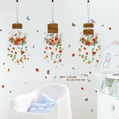 Magenta Angel Cartoon Flower Pot Basket Wall Stickers Decoration