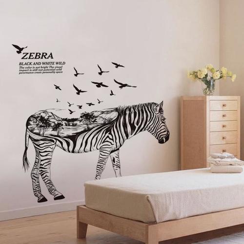 Magenta Angel Zebra DIY Wall Stickers Abstract Art Black Decor