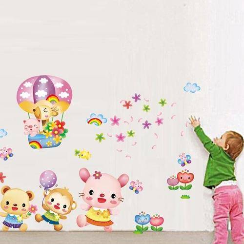 Magenta Angel Cute Animals Wall Stickers Bathroom Stickers for