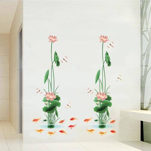 Magenta Angel Louts Flowers Wall Stickers Home Decor For