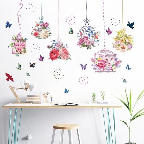 Magenta Angel Flower Pot Basket Wall Stickers Dormitory