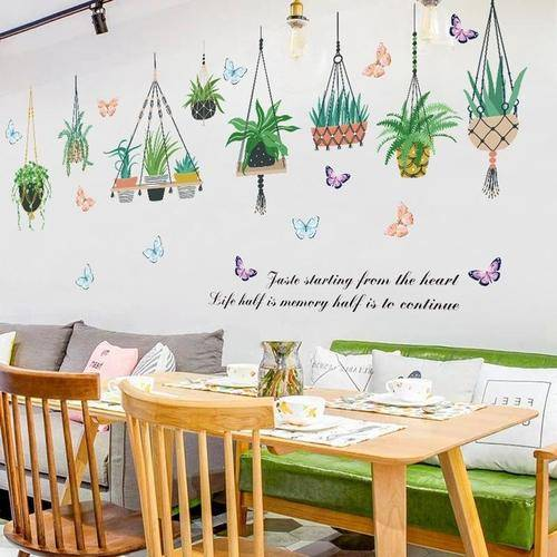 Magenta Angel Garden Plant Butterfly Wall Stickers Home Decor