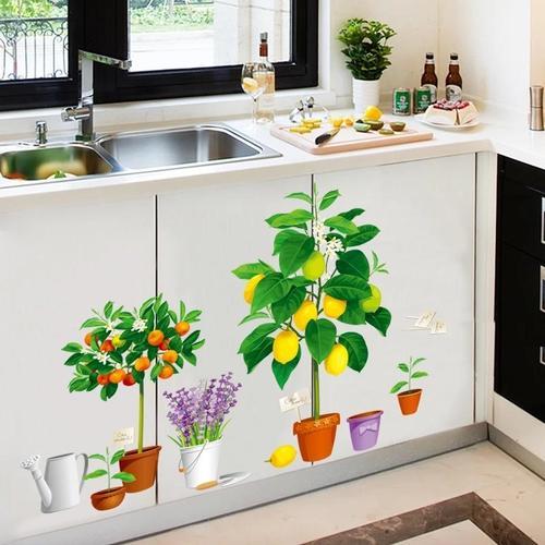 Magenta Angel Garden Plant Bonsai Home Decor Wall Stickers for