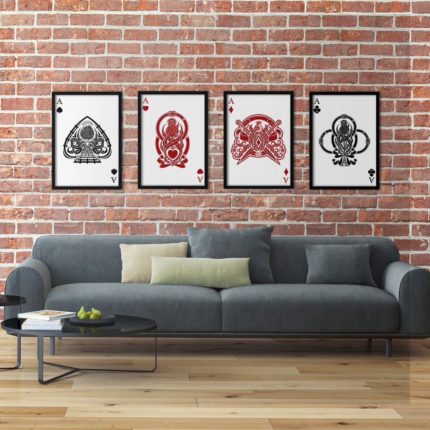 Silver Ares Four of a Kind Aces Poster Set