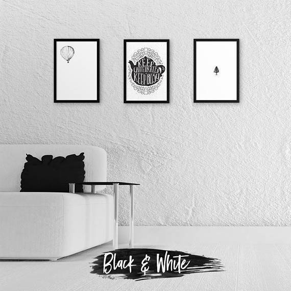 Silver Ares Black and White I Poster Set