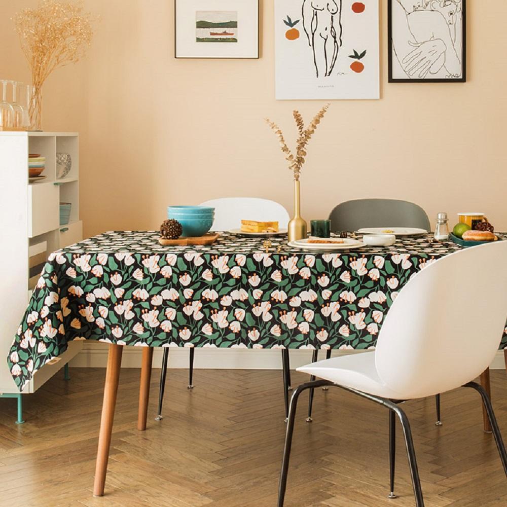 Purple Artemis Green Flower Stamen Indoor / Outdoor Tablecloth