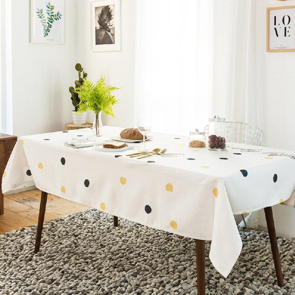 Purple Artemis Ink and Yellow Dots Indoor / Outdoor Tablecloth