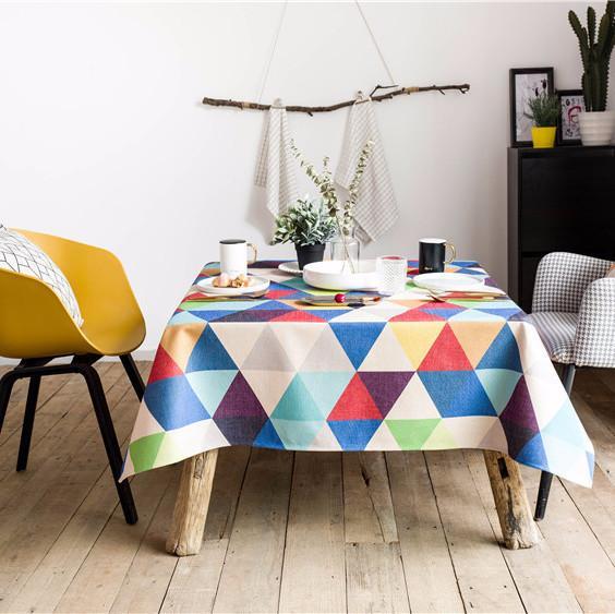 Purple Artemis Colorful Triangle Indoor / Outdoor Tablecloth