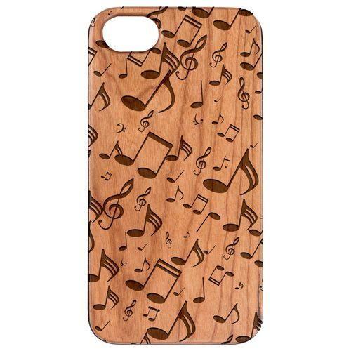 Sky Blue Cassandra Music Note Pattern Wood Phone Case