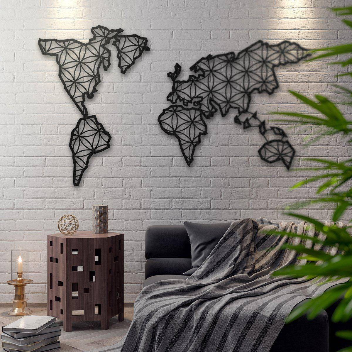 Silver Ares Liv Metal World Map Wall Art