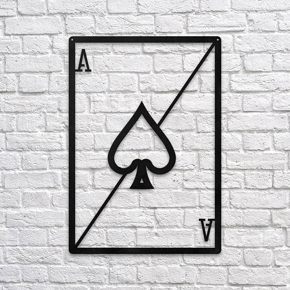 Silver Ares Ace of Spades Metal Wall Art