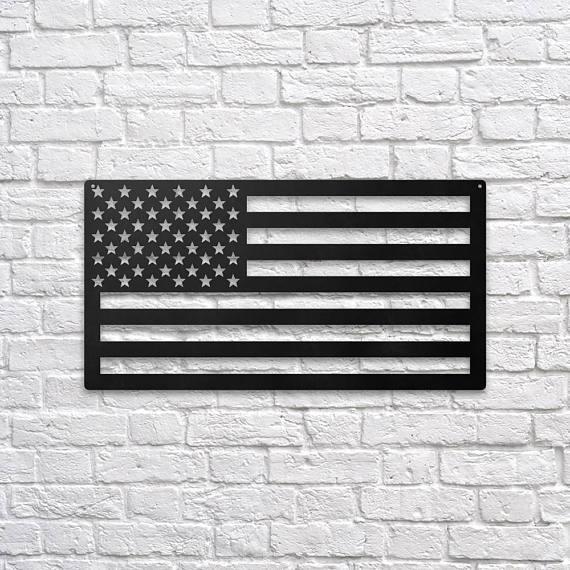 Silver Ares USA Flag Metal Wall Art