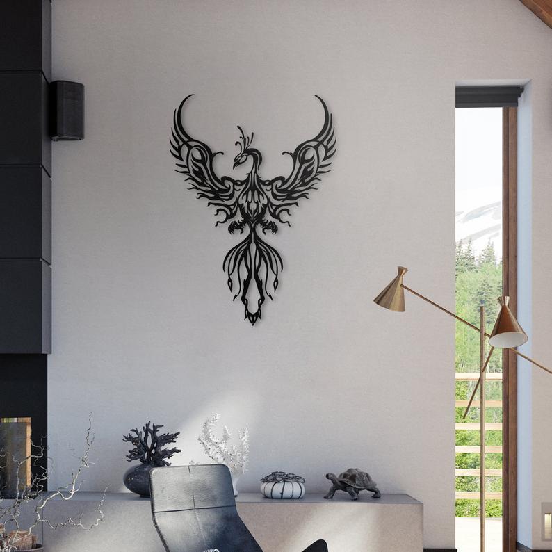 Silver Ares Phoenix Metal Wall Art
