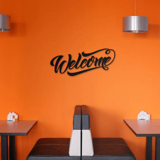 Silver Ares Welcome Metal Wall Art