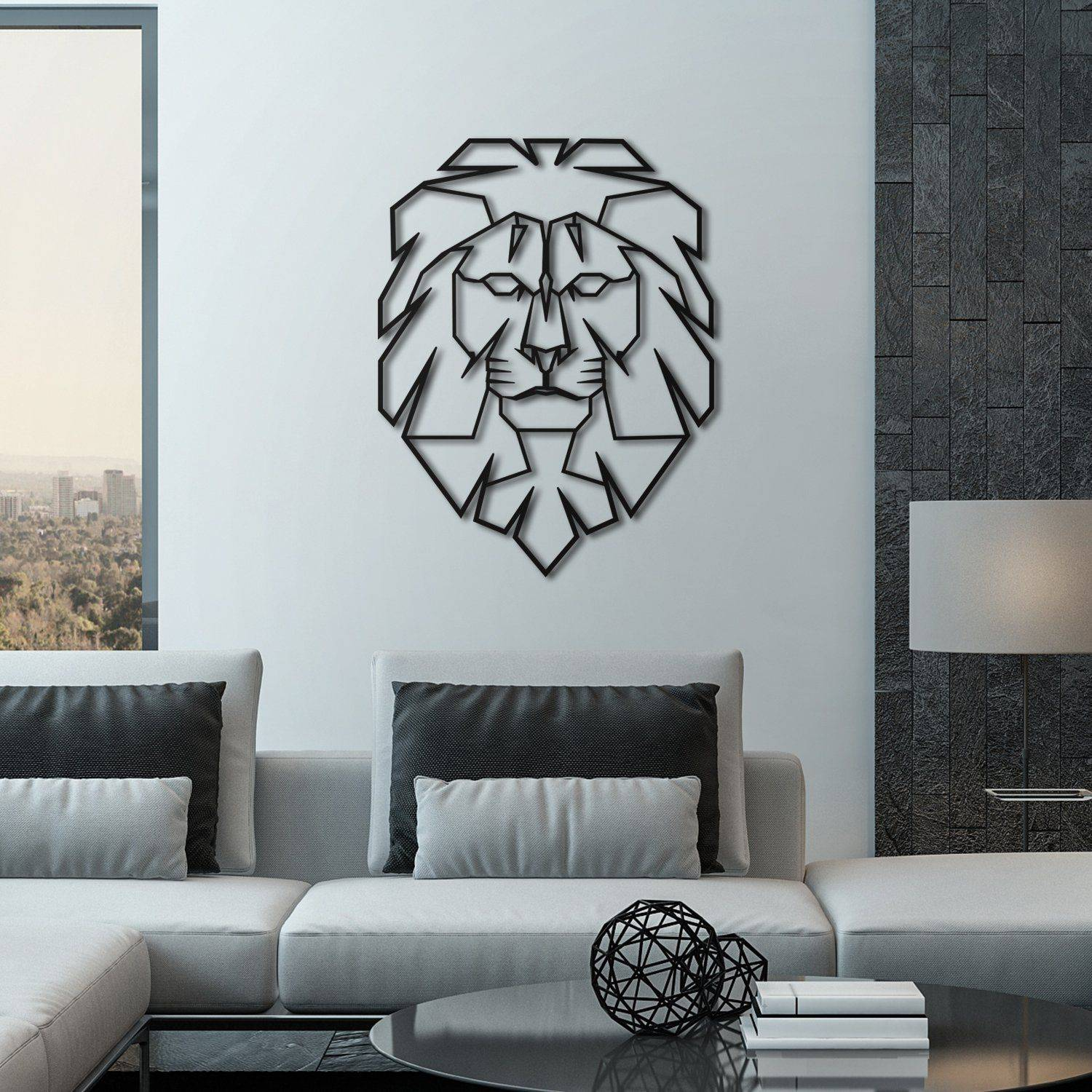 Silver Ares Leo Metal Wall Art