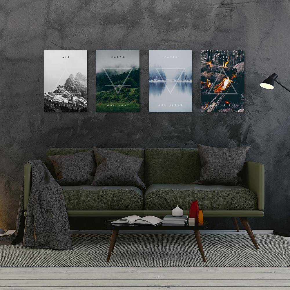 Silver Ares Four Elements Metal Poster