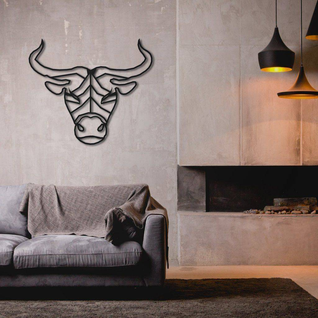 Silver Ares Taurus Metal Wall Art
