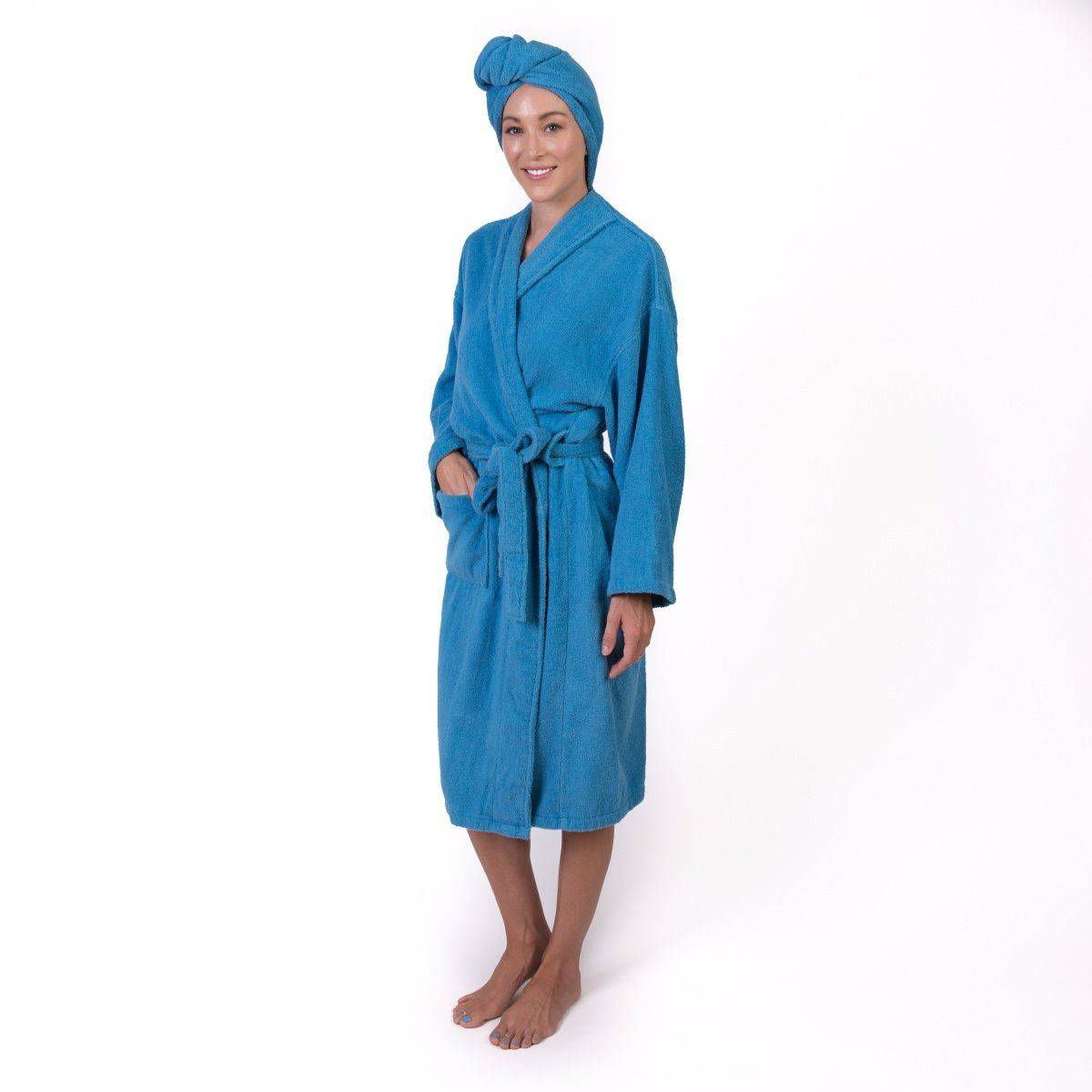 Azure Dione Bath robe with attached turban, Krown Robes