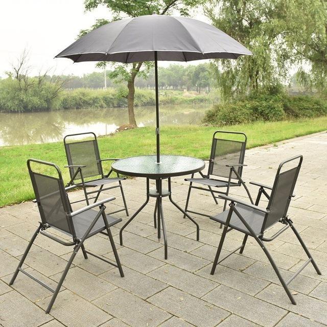 Silver Molly 6 PCS Patio Garden Set Furniture 4 Folding Chairs