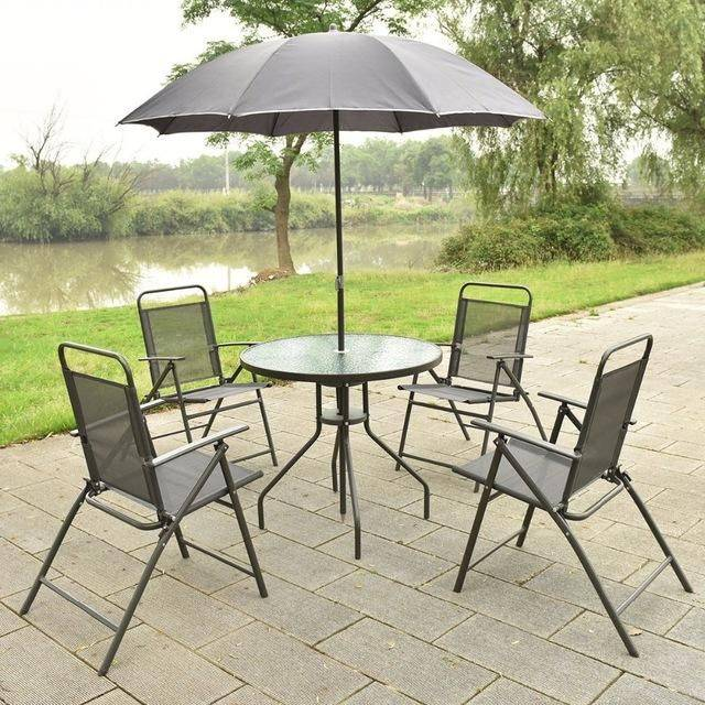 Silver Molly 6 PCS Patio Garden Set Furniture 4 Folding Chairs