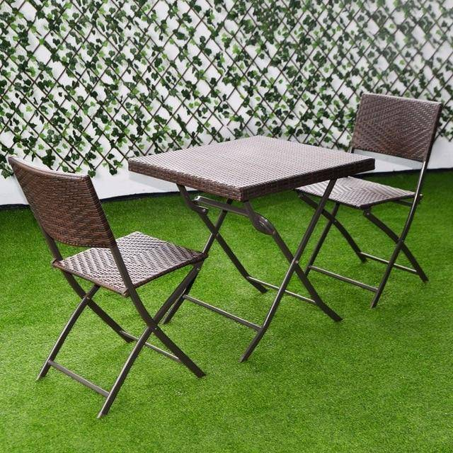 Silver Molly 3 PC Outdoor Folding Table Chair Furniture