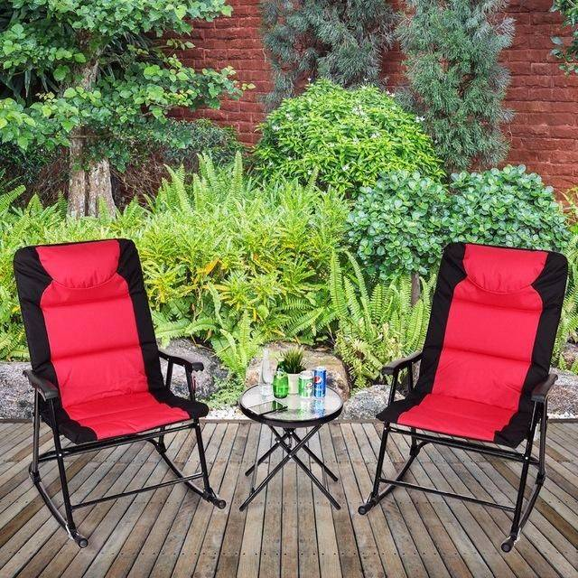 Silver Molly 3 PCS Outdoor Folding Rocking Chair Table