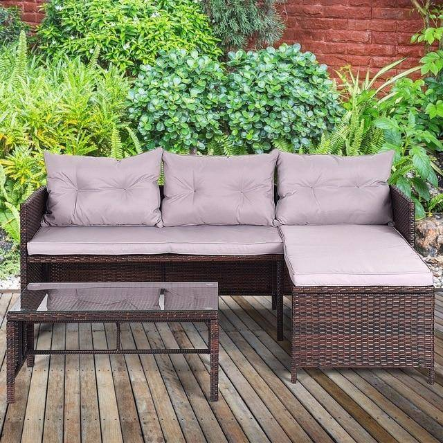 Silver Molly 3 PCS Outdoor Rattan Furniture Sofa Set