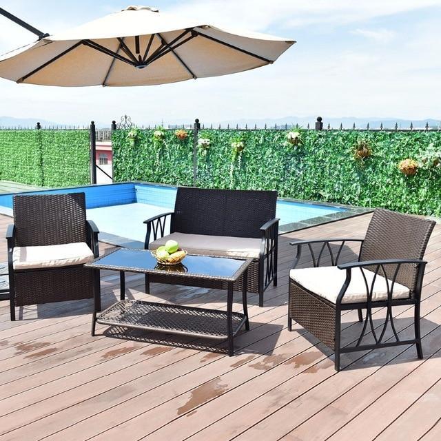 Silver Molly 4 PC Garden Furniture Set Outdoor Patio