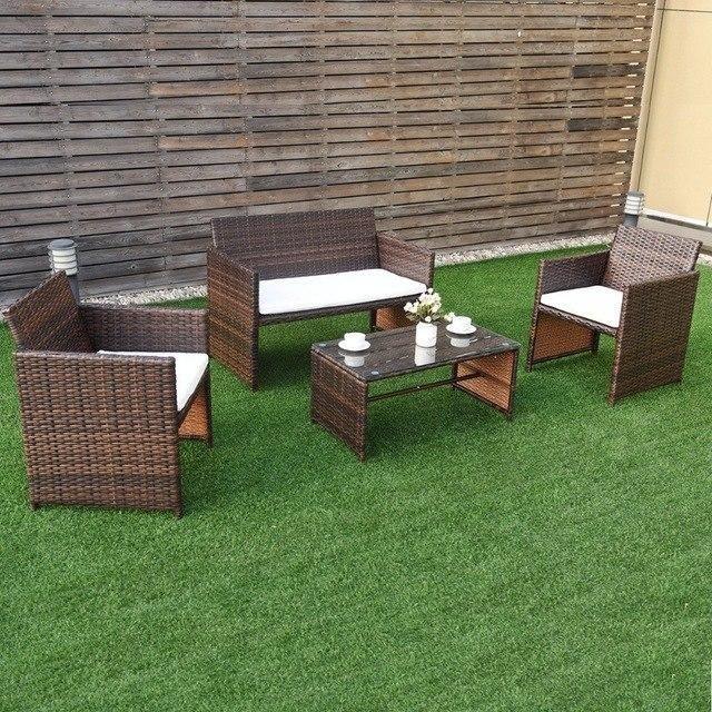 Silver Molly Giantex 4 PC Rattan Patio Furniture Set Garden