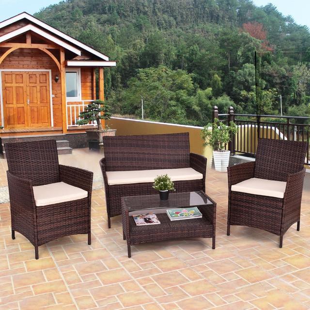 Silver Molly 4PCS Outdoor Patio PE Rattan Wicker Coffee