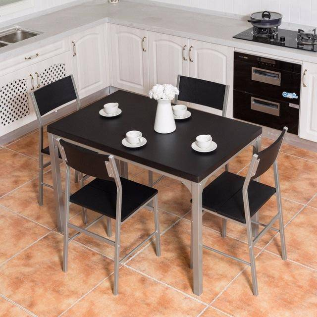 Silver Molly 5 Piece Dining Set Table & 4 Chairs Wood