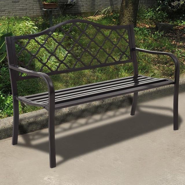 """Silver Molly 50"""" Patio Garden Bench Loveseats Park Yard"""