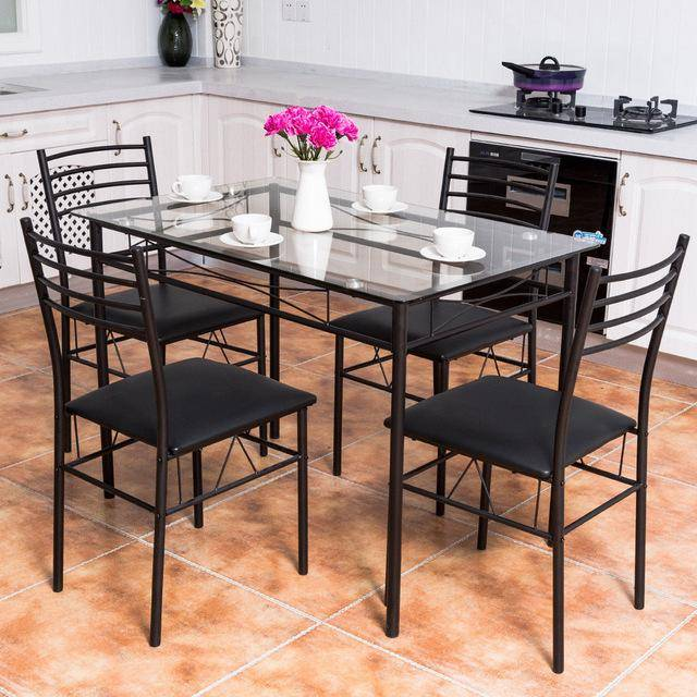 Silver Molly 5PC Dining Set Modern Dining Room Tempered