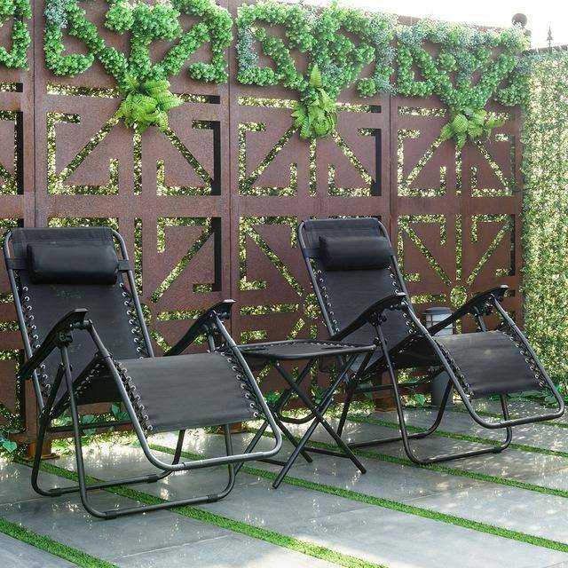 Silver Molly Folding 3PC Outdoor Furniture Zero Gravity