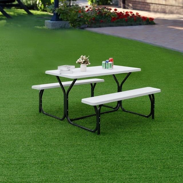 Silver Molly Picnic Table Bench Set Outdoor Backyard