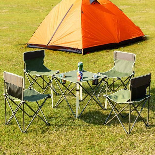 Silver Molly Portable Outdoor Folding Table Chairs Set