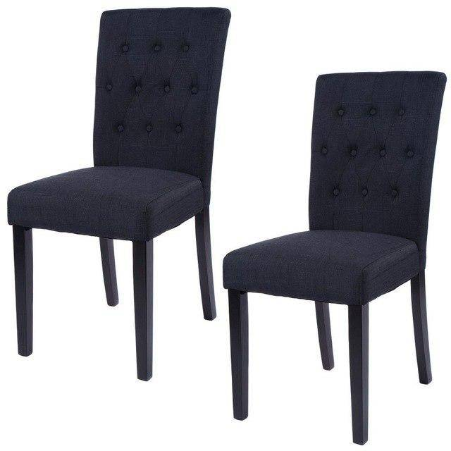 Silver Molly Set of 2 Fabric Dining Chair Home Kitchen