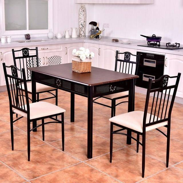 Silver Molly 5 Piece Kitchen Dining Set Wood Metal Table