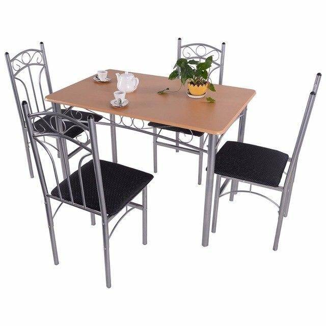 Silver Molly 5PCS Dining Room Set Wood And Metal Dining