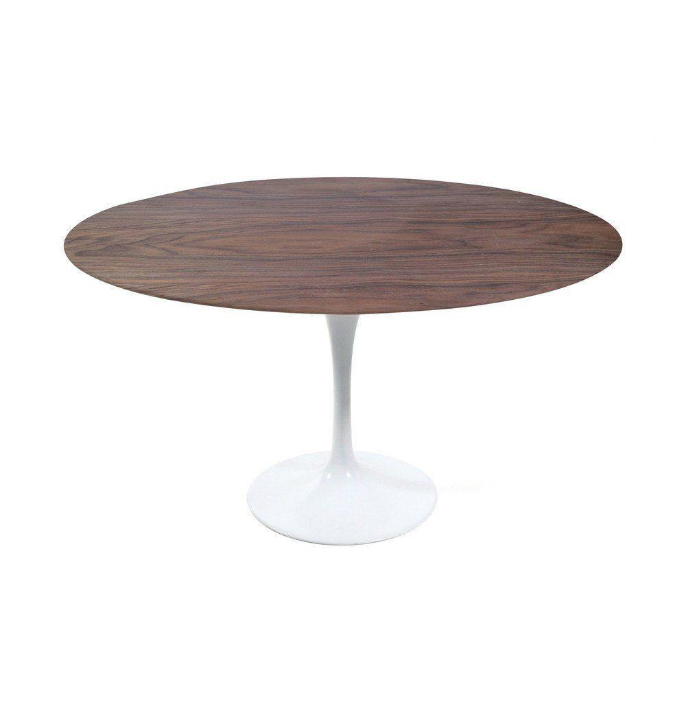 Azure Tiger Tulip Dining Table - Round - Walnut/White Oak/Ash
