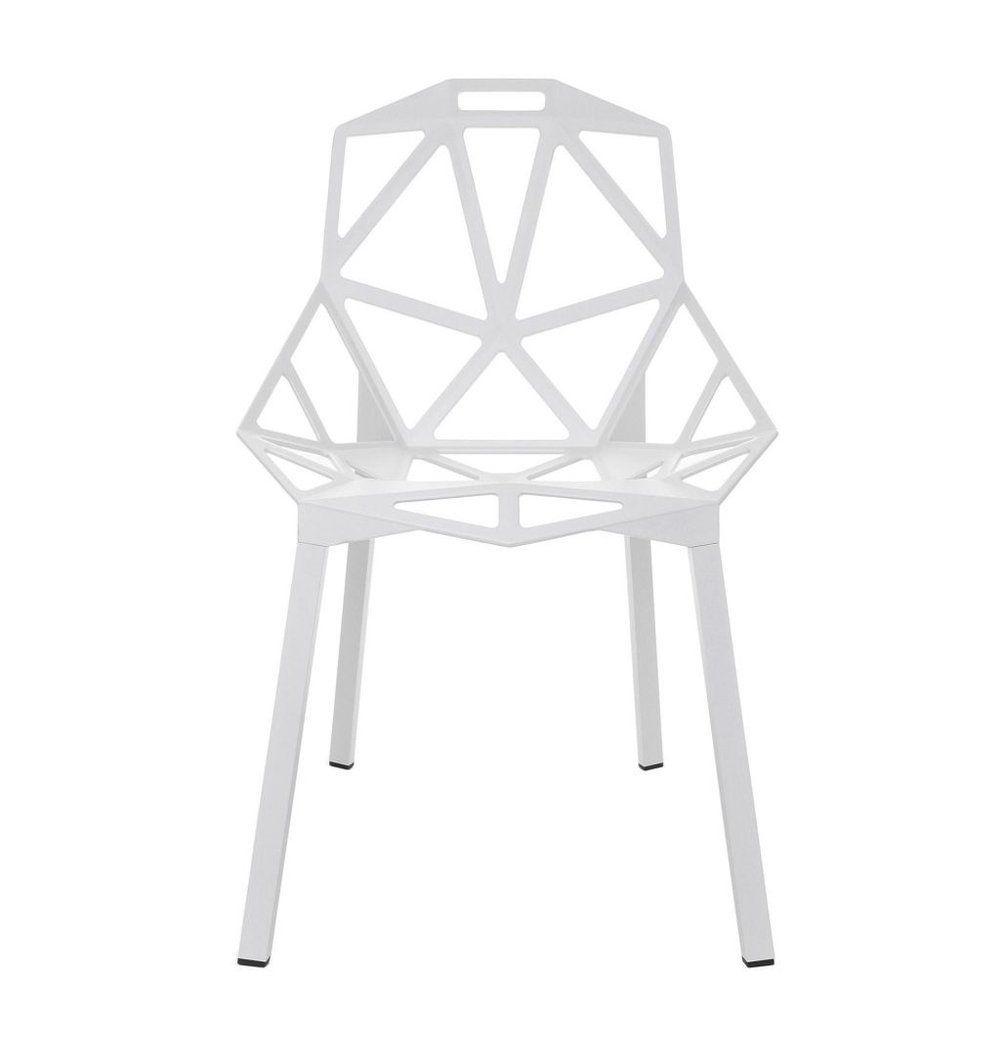 Azure Tiger Luke Modern Aluminium Dining Chair - White