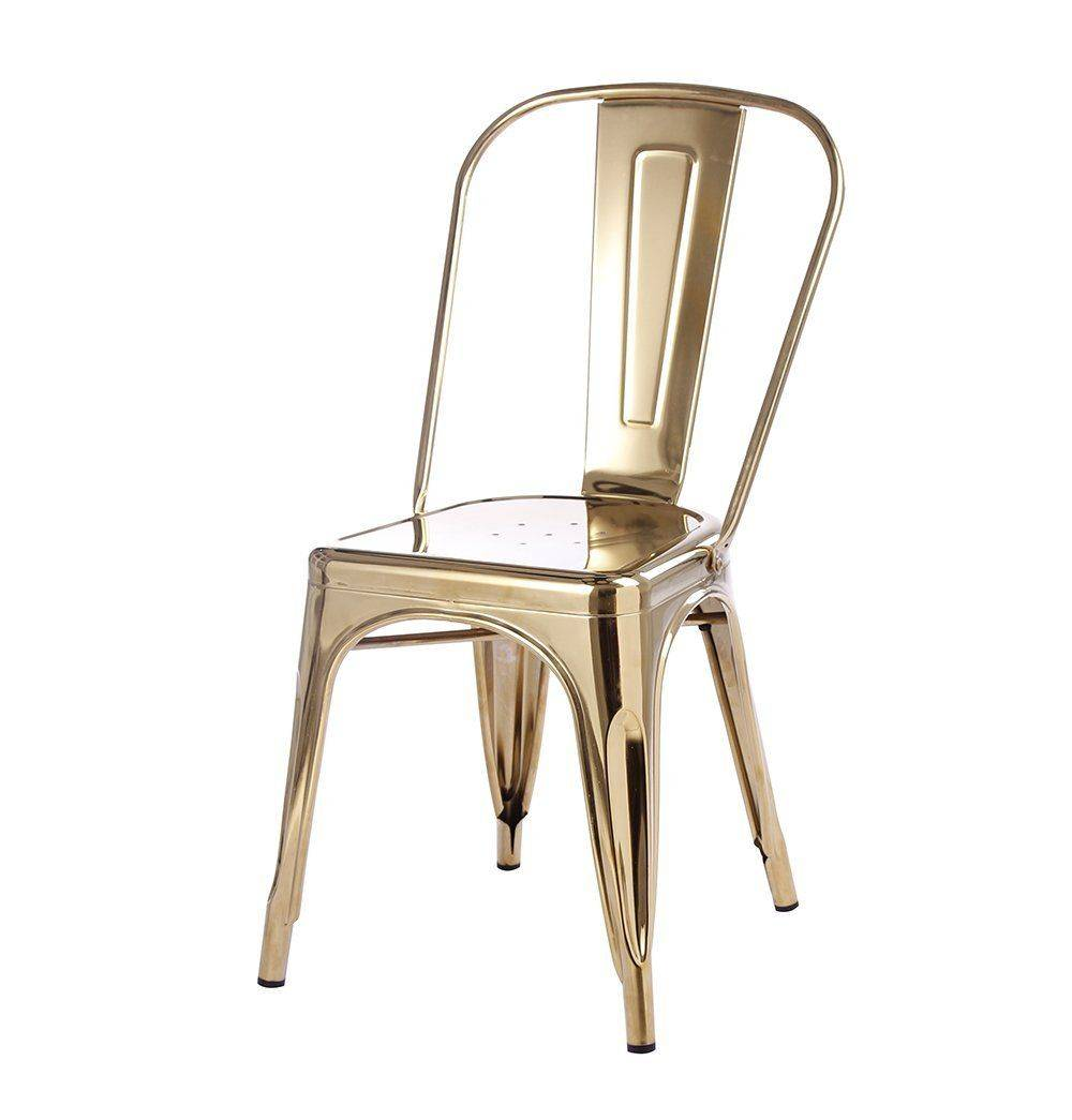Azure Tiger Tolix Style Dining Chair - Gold - Reproduction