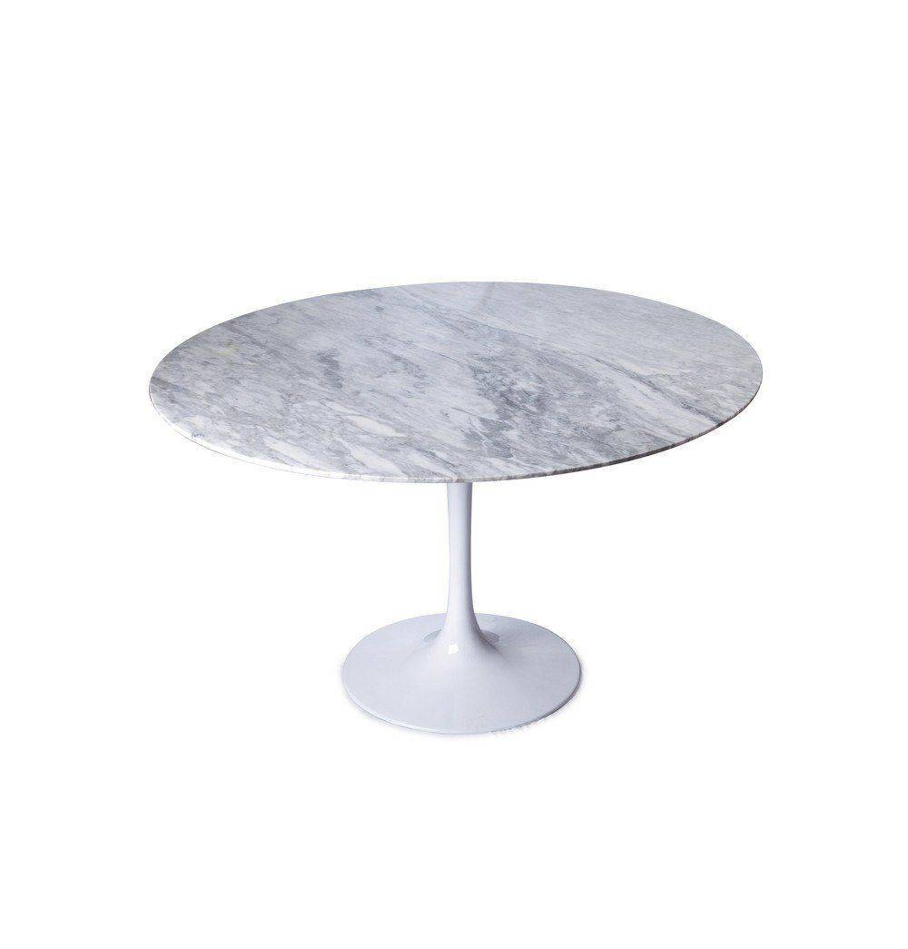 Azure Tiger Tulip Dining Table - Round - Marble Top -
