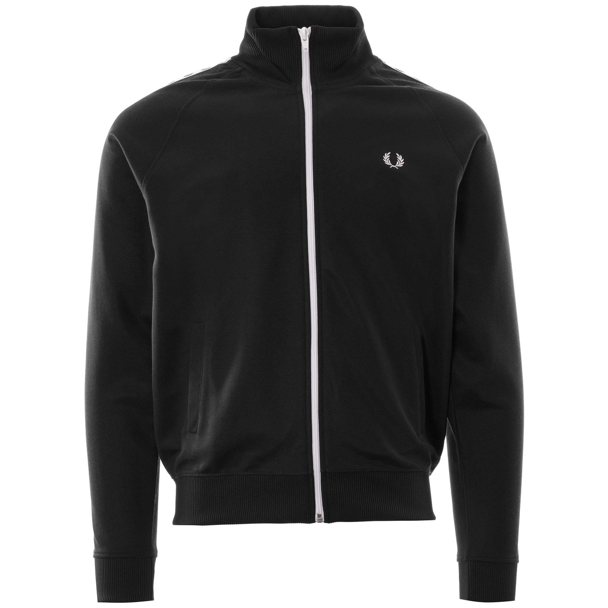 Fred Perry Sports Authentic Tape Track Jacket   Black   J6231