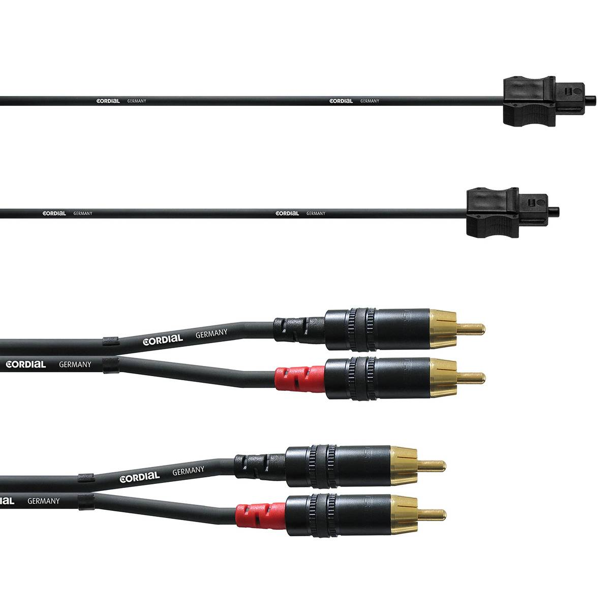 Cordial RCA/Toslink cable set for subwoofer, 6 m, black