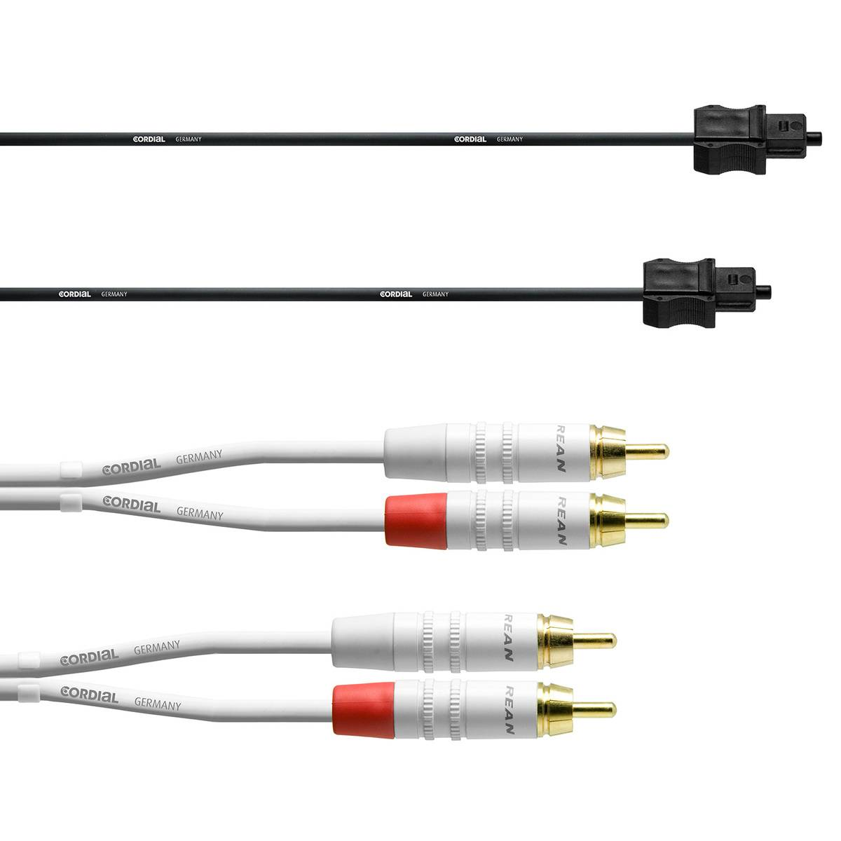 Cordial RCA/Toslink cable set for subwoofer, 6 m, white - black